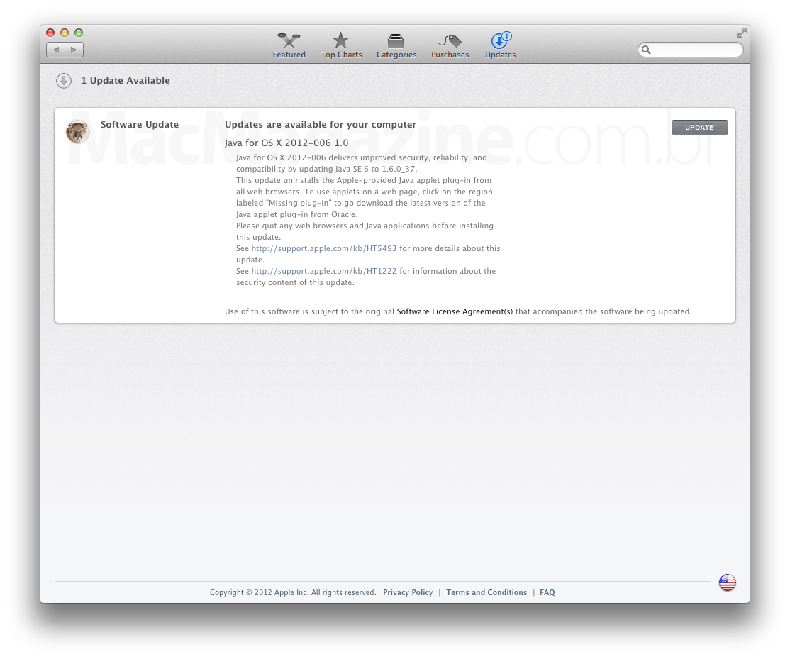 Atualização Java para o OS X Mountain Lion