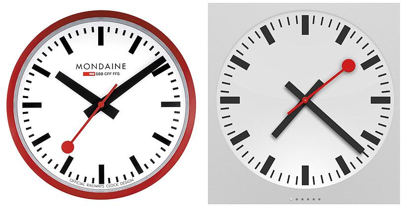 """Relógio Mondaine vs. Relógio (""""Clock"""") do iPad"""