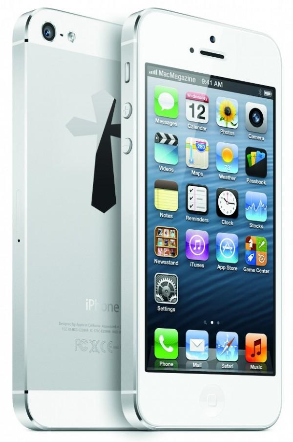 Cruz na traseira de um iPhone 5