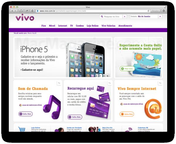 Site da Vivo com cadastro para iPhone 5
