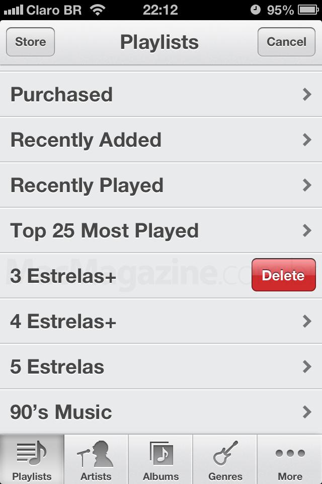 Deletando músicas no aparelho (iPad, iPhone e iPod touch)