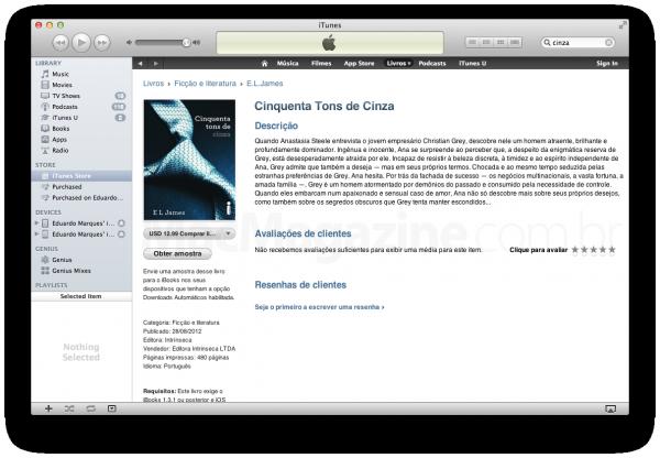 Cinquenta Tons de Cinza na iBookstore brasileira