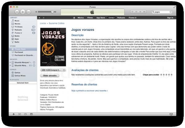 """Livro """"Jogos vorazes"""" na iBookstore brasileira"""