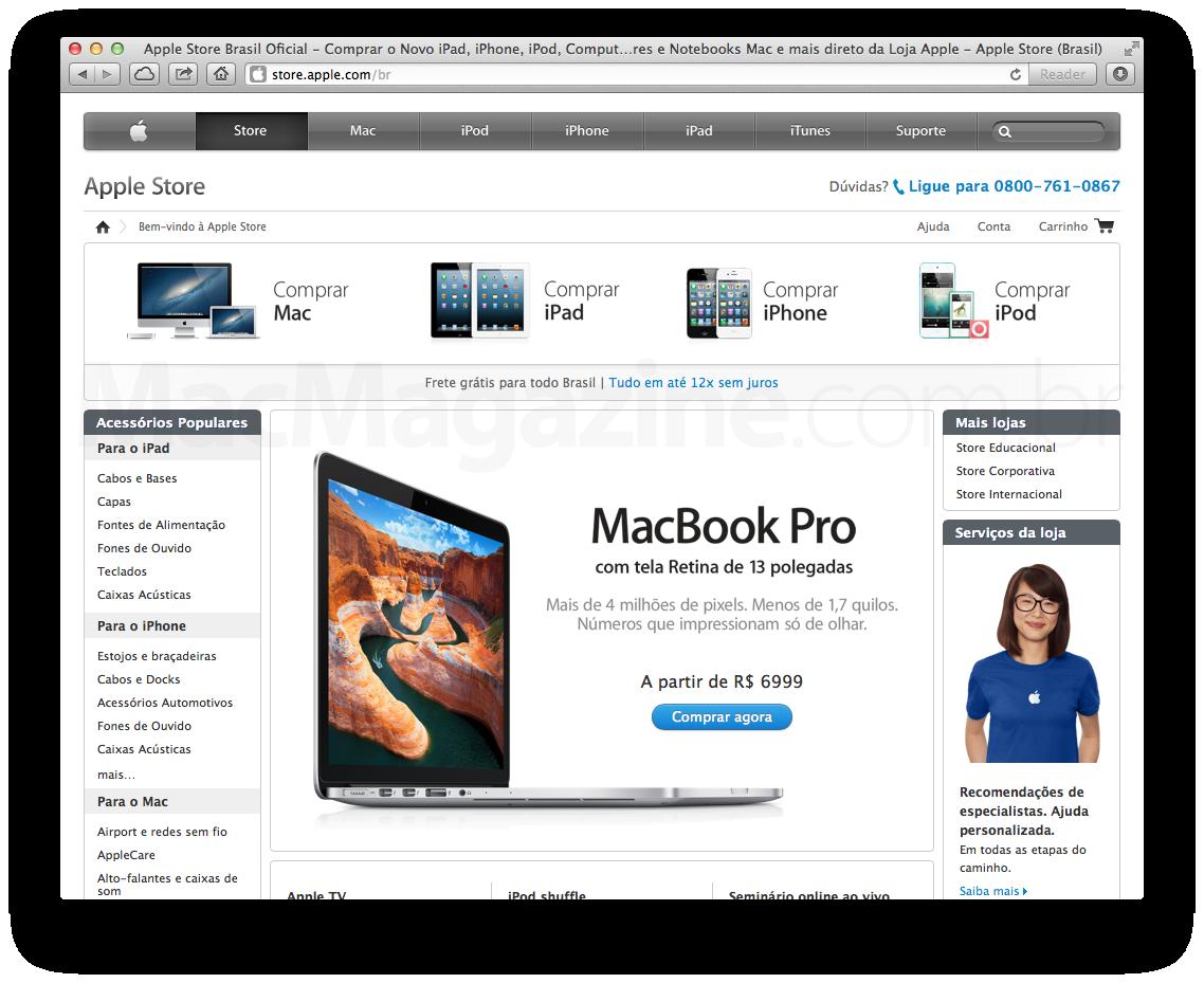 Apple Online Store de visual novo