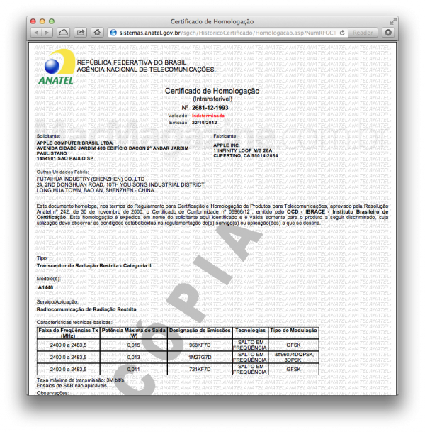 Certificado de homologação da ANATEL para o iPod nano