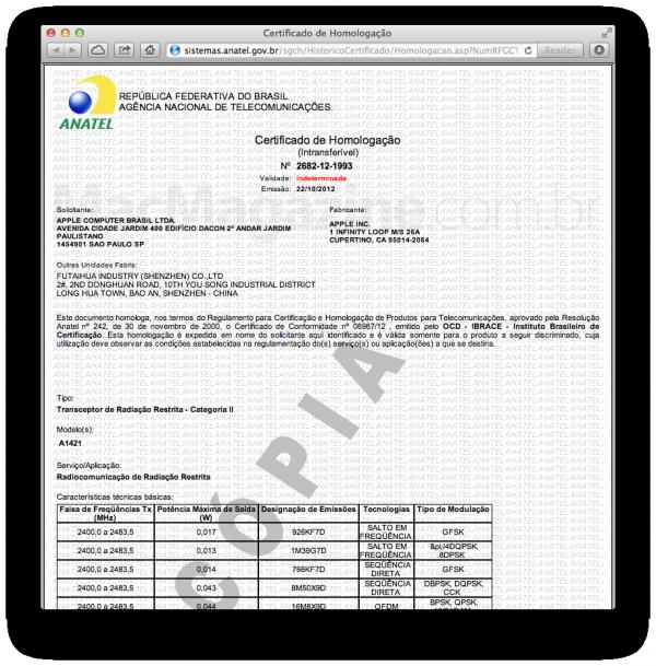 Certificado de homologação da ANATEL para o iPod touch