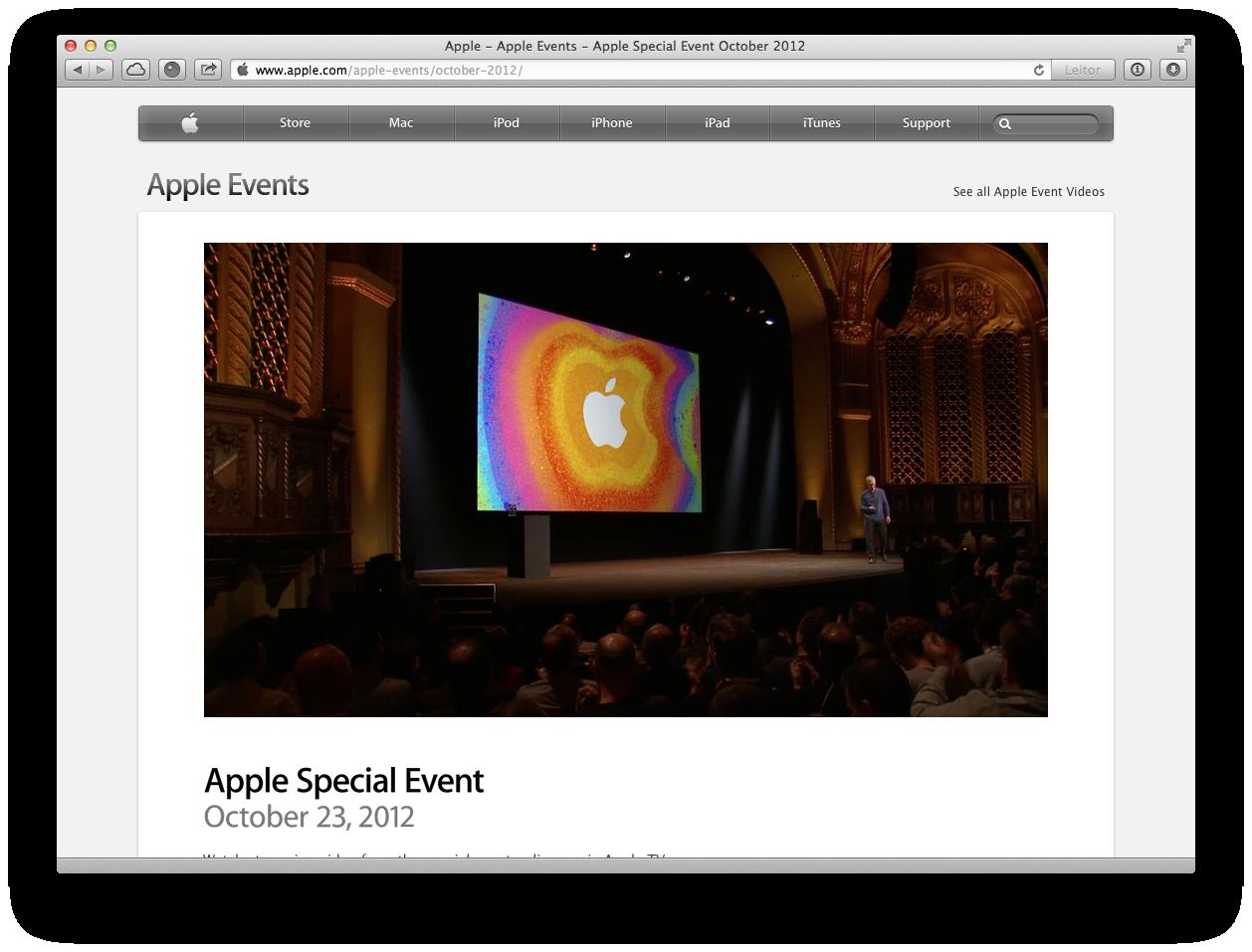 Vídeo do evento da Apple