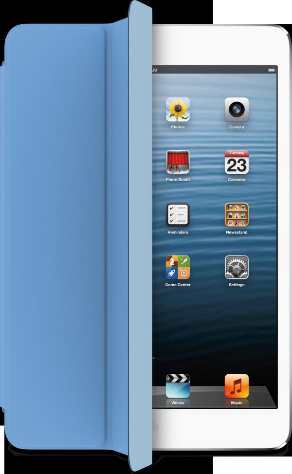 iPad mini de frente, com Smart Cover azul