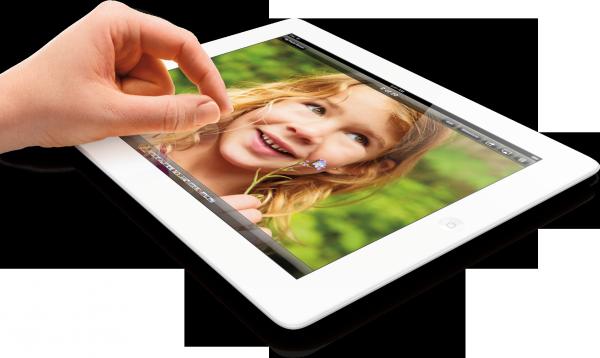 iPad de quarta geração deitado de lado, com mão mexendo