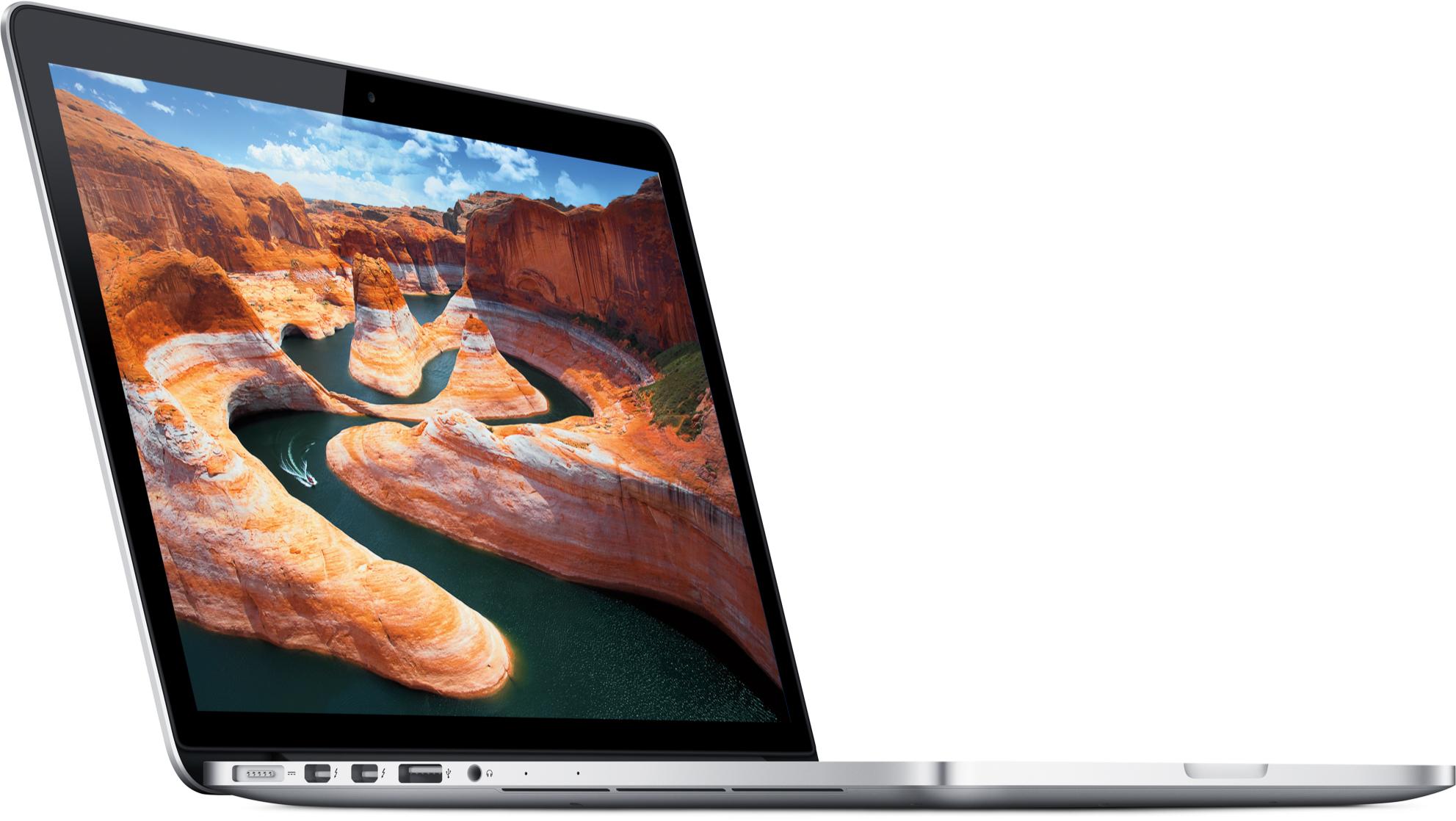 MacBook Pro de 13 polegadas com tela Retina de frente e inclinado