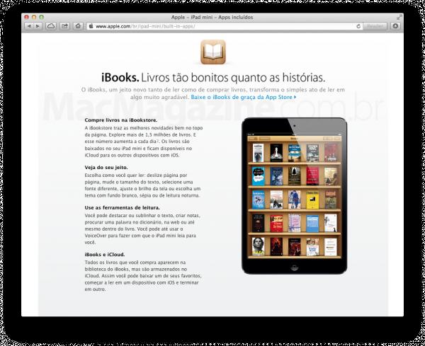 Página do iPad mini com a iBookstore brasileira