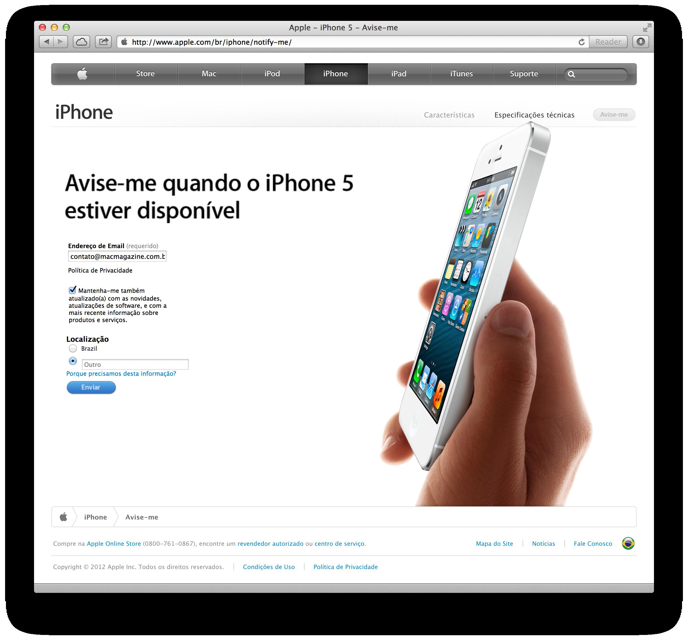 Cadastro para interessados no iPhone 5