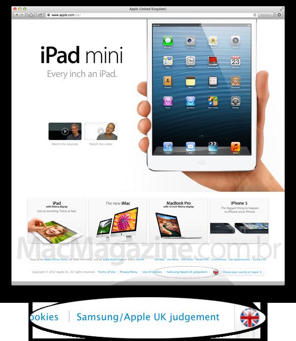 Nota à Samsung no site da Apple UK