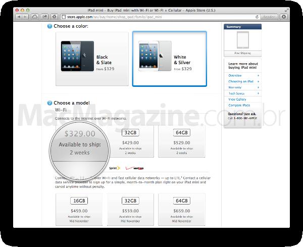Prazo de entrega do iPad mini branco nos Estados Unidos