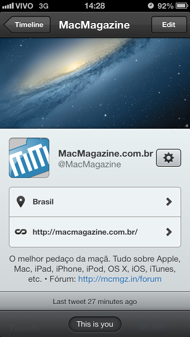 Tweetbot com capa do Twitter