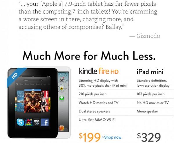 Amazon detonando o iPad mini