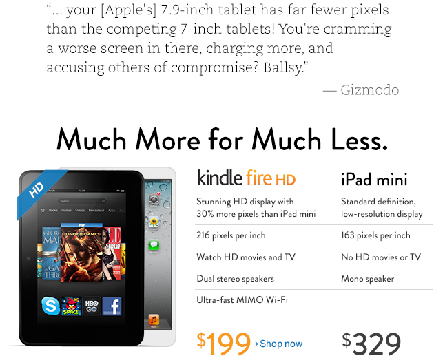 Amazon detonando o iPad mini