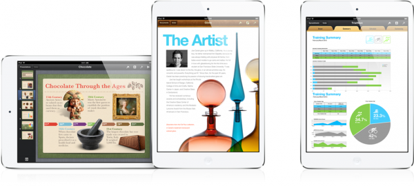 iPads mini rodando iWork