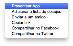 Presentear aplicativo