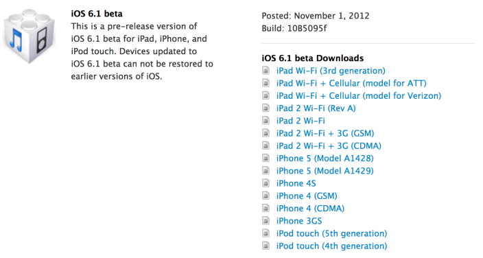 Primeira versão beta do iOS 6.1