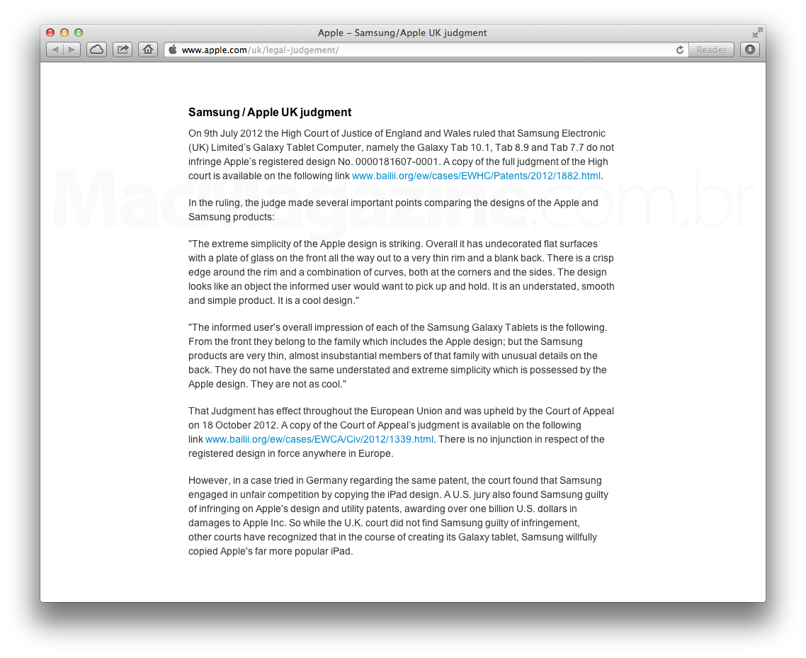 Comunicado no site da Apple