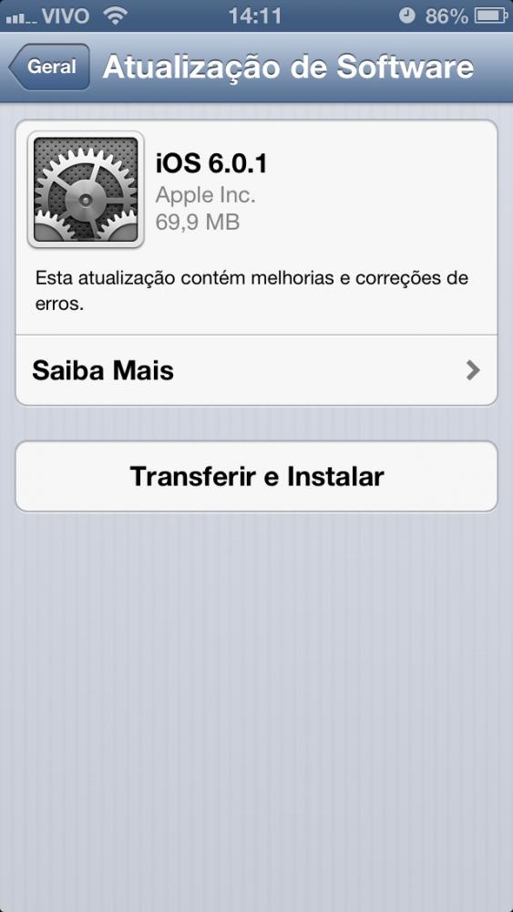 iOS 6.0.1 no iPhone 5