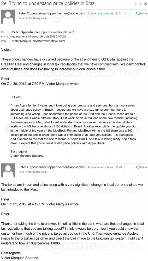 Emails com Peter Oppenheimer