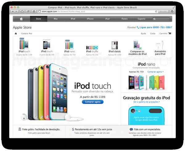Novos iPods à venda na Apple Online Store brasileira