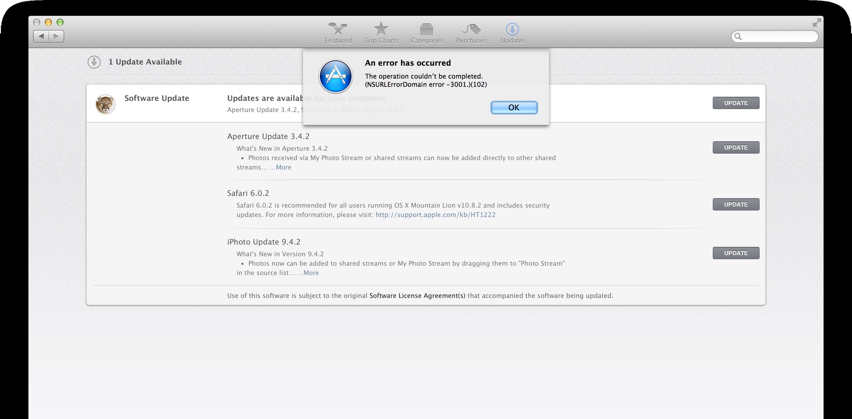 Erro no download de updates