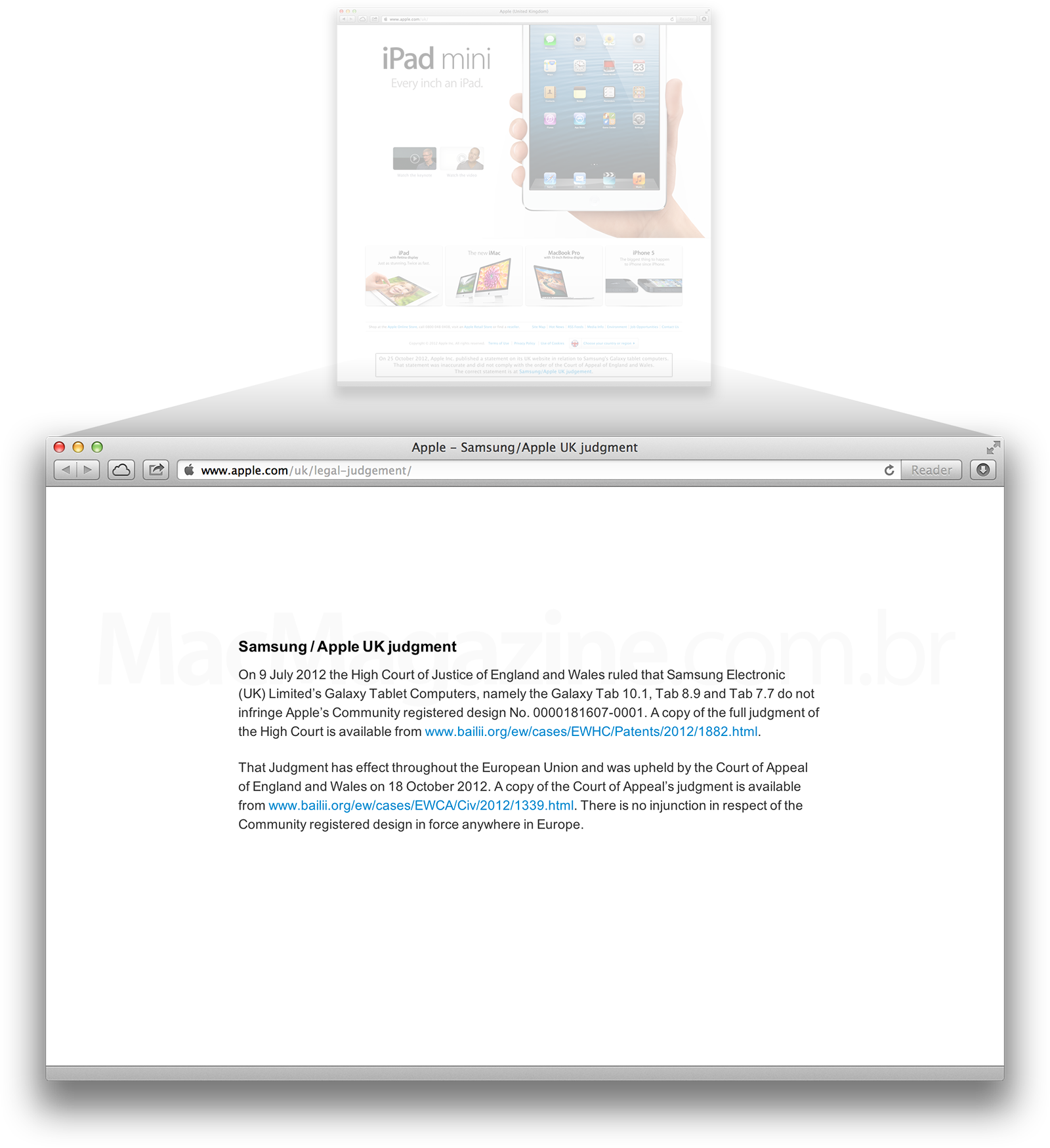 Pedido de desculpas da Apple à Samsung