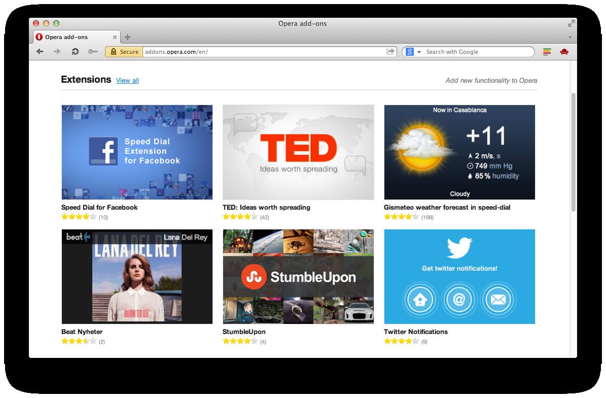 Opera 12.10 no Mac