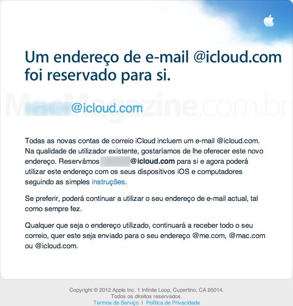 Email enviado pela equipe iCloud