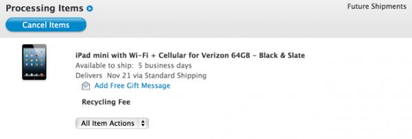 Entrega estimada de um iPad mini Wi-Fi + Cellular