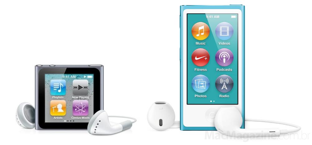 Comparativo entre iPods nano de sexta e sétima gerações