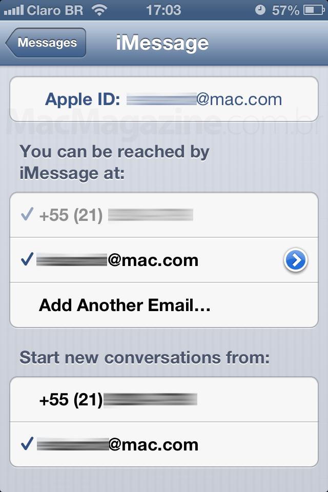 Configurando iMessage - iPhone