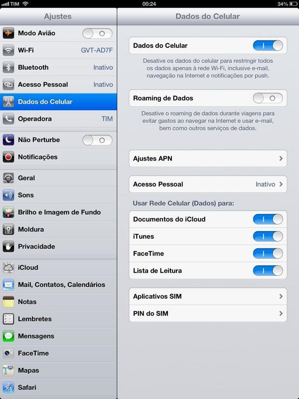 Acesso Pessoal em iPad de terceira geração da TIM
