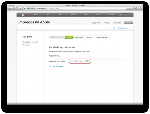 Vagas no Brasil para Apple Retail Store, apenas no Rio de Janeiro.