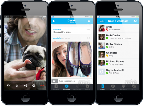Skype preparado para a tela do iPhone 5