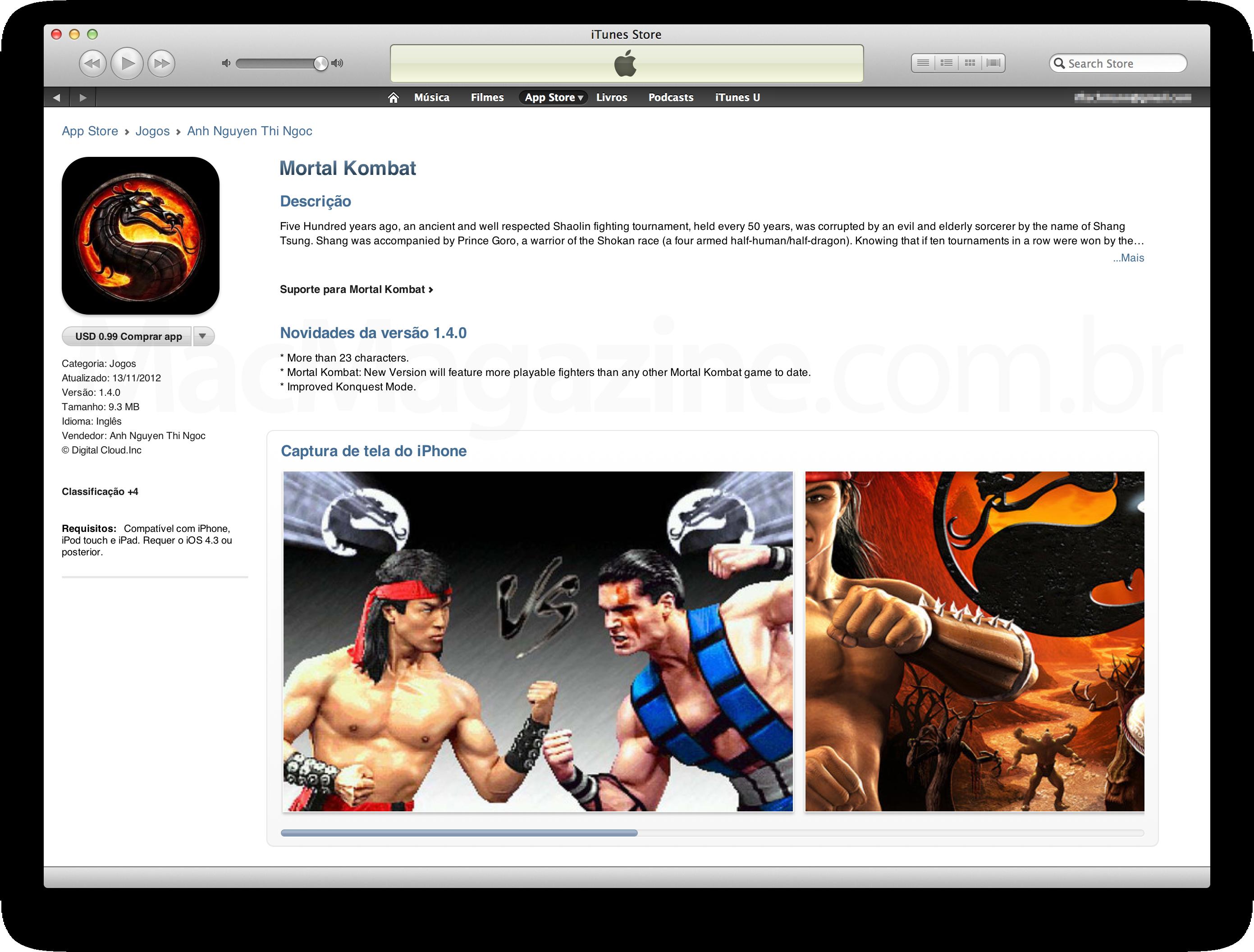 Mortal Kombat falso na App Store