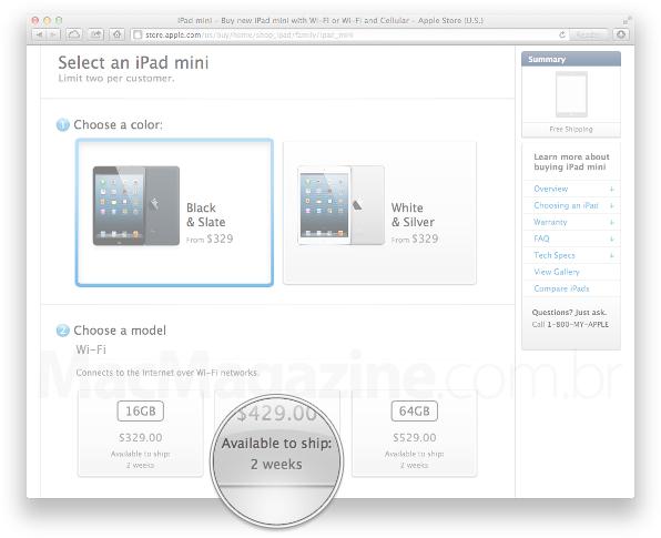 Prazo de entrega do iPad mini Wi-Fi + Cellular