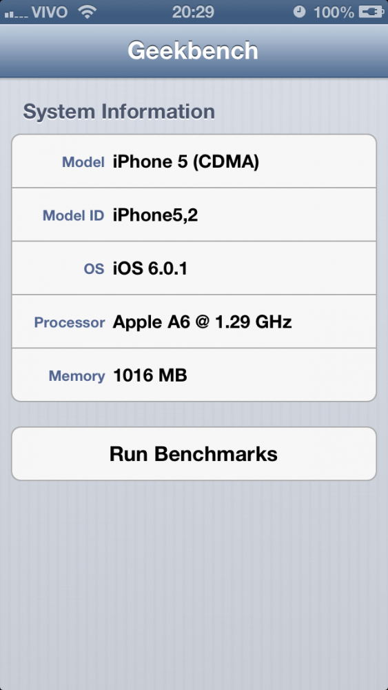 Geekbench no iPhone 5