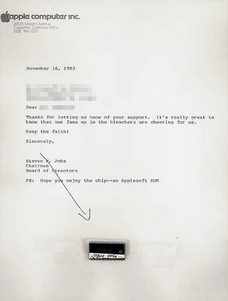Carta assinada por Jobs