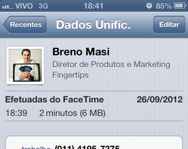 Dados do FaceTime no iOS 6