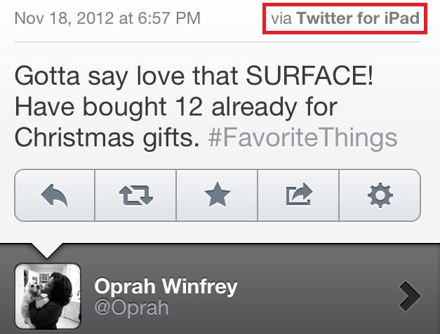 Oprah usando um iPad para falar do Surface