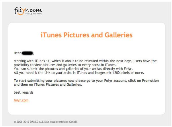 Email sobre o iTunes 11 enviado pela Feiyr