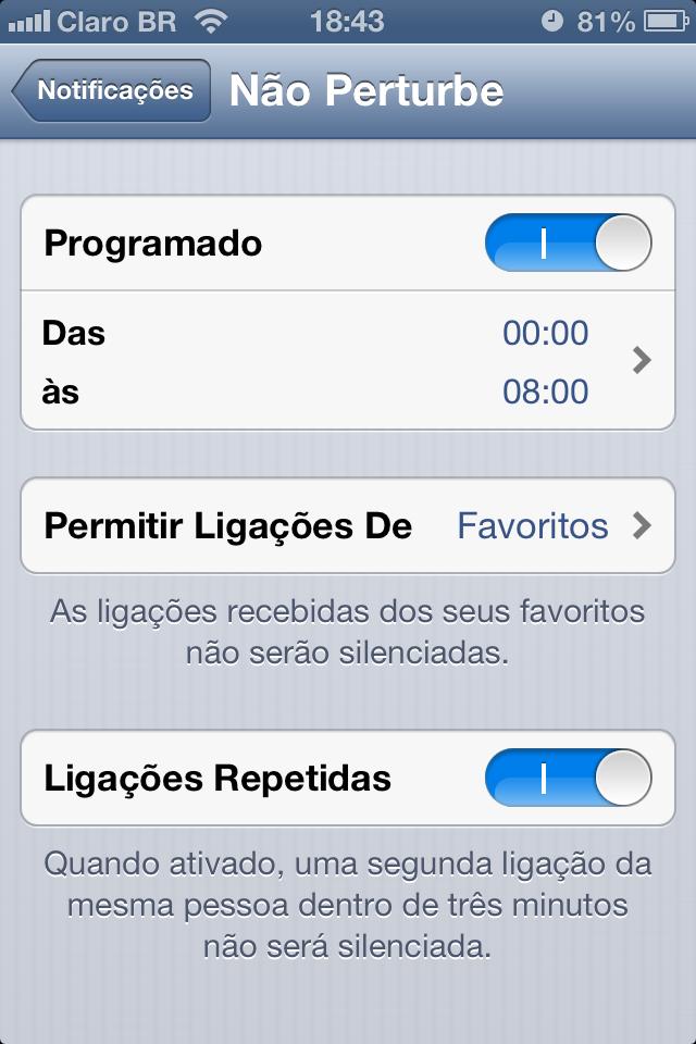 Recurso Não Perturbe no iOS 6