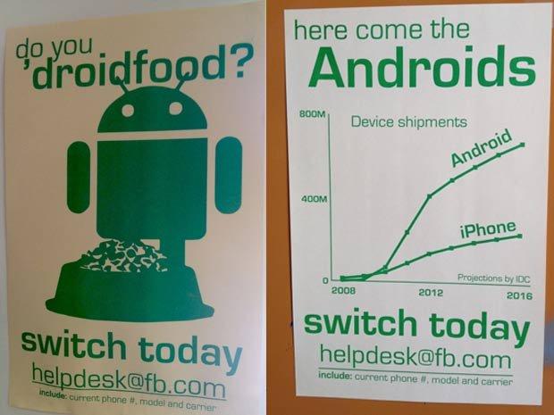Facebook forçando Android sobre iPhone