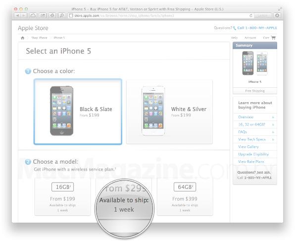 Prazo de entrega do iPhone 5 nos EUA
