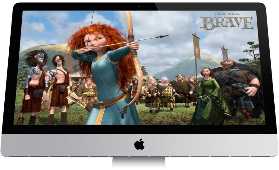 """iMac de frente rodando o filme """"Brave"""" (""""Valente"""")"""