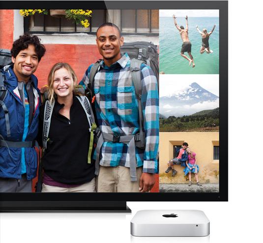 Mac mini conectado a uma TV por cabo HDMI